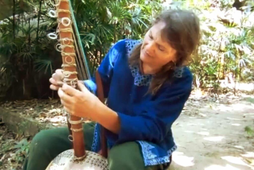 Catherine Thompson showing how to tune the Kora_Musical_Instrument