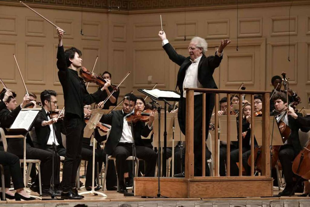 Benjamin Zander with Violinist Stefan Jackiw and the Boston Philharmonic Youth Orchestra